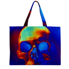 Skull Zipper Tiny Tote Bags by icarusismartdesigns