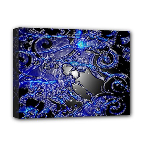 Blue Silver Swirls Deluxe Canvas 16  X 12   by LokisStuffnMore