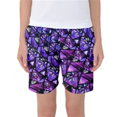 Blue Purple Shattered Glass Women s Basketball Shorts by KirstenStar
