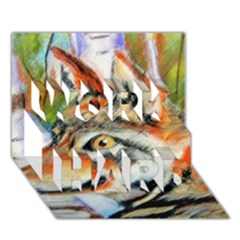 Wolfpastel Work Hard 3d Greeting Card (7x5)  by LokisStuffnMore