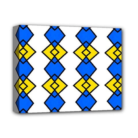 Blue Yellow Rhombus Pattern Deluxe Canvas 14  X 11  (stretched) by LalyLauraFLM