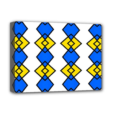 Blue Yellow Rhombus Pattern Deluxe Canvas 16  X 12  (stretched)  by LalyLauraFLM