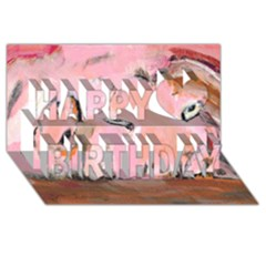 Piggy No 3 Happy Birthday 3d Greeting Card (8x4)  by timelessartoncanvas