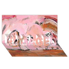 Piggy No 3 Engaged 3d Greeting Card (8x4)  by timelessartoncanvas