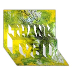 Green Mask Thank You 3d Greeting Card (7x5)  by timelessartoncanvas