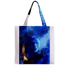 Blue Mask Zipper Grocery Tote Bags by timelessartoncanvas