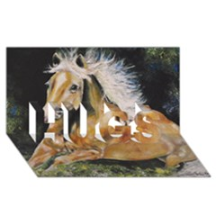 Mustang Hugs 3d Greeting Card (8x4)  by timelessartoncanvas