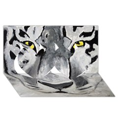 The Eye Of The Tiger Twin Hearts 3d Greeting Card (8x4)  by timelessartoncanvas