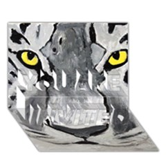 The Eye Of The Tiger You Are Invited 3d Greeting Card (7x5)  by timelessartoncanvas