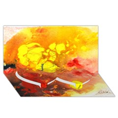 Fire, Lava Rock Twin Heart Bottom 3d Greeting Card (8x4)