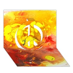Fire, Lava Rock Peace Sign 3d Greeting Card (7x5)  by timelessartoncanvas