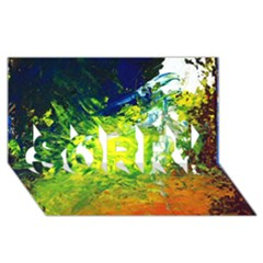 Abstract Landscape Sorry 3d Greeting Card (8x4)