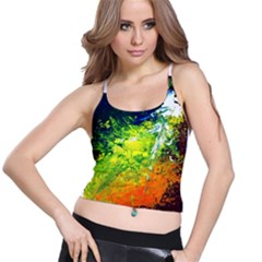 Abstract Landscape Spaghetti Strap Bra Tops