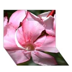 Pink Oleander Circle 3d Greeting Card (7x5)  by timelessartoncanvas