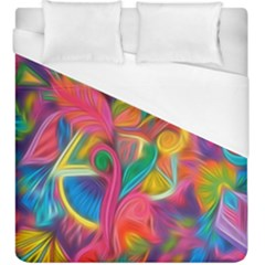 Colorful Floral Abstract Painting Duvet Cover Single Side (kingsize) by KirstenStar