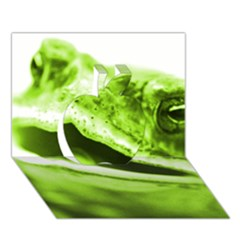 Green Frog Apple 3d Greeting Card (7x5)  by timelessartoncanvas