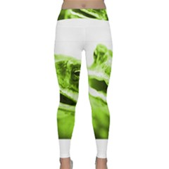Green Frog Yoga Leggings by timelessartoncanvas
