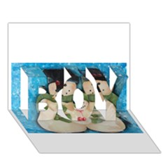 Snowman Family Boy 3d Greeting Card (7x5) by timelessartoncanvas