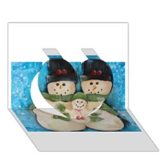 Snowman Family Heart 3d Greeting Card (7x5)  by timelessartoncanvas