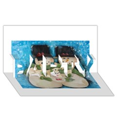 Snowman Family Party 3d Greeting Card (8x4)  by timelessartoncanvas