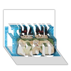 Snowman Family Thank You 3d Greeting Card (7x5)  by timelessartoncanvas