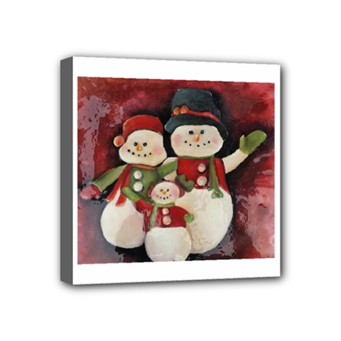 Snowman Family No. 2 Mini Canvas 4  x 4