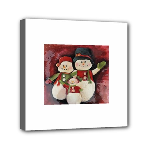 Snowman Family No. 2 Mini Canvas 6  x 6