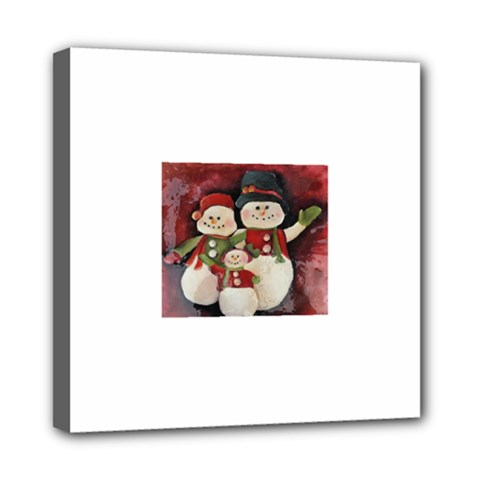 Snowman Family No. 2 Mini Canvas 8  x 8