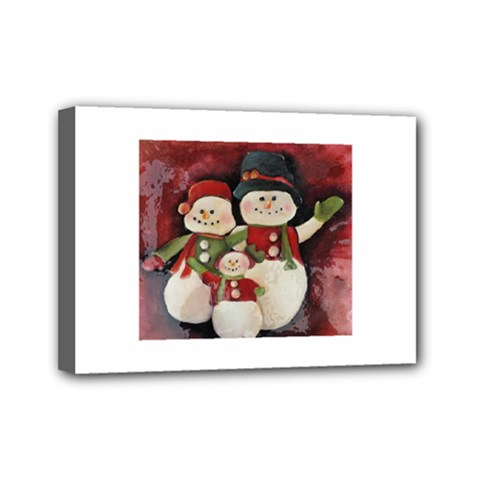Snowman Family No. 2 Mini Canvas 7  x 5
