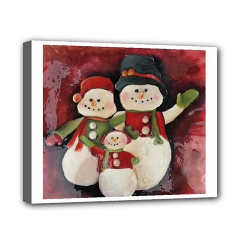 Snowman Family No. 2 Canvas 10  x 8