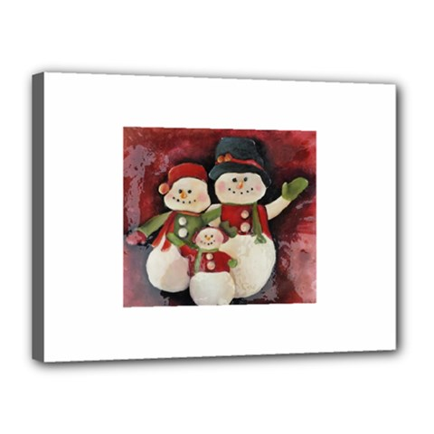 Snowman Family No. 2 Canvas 16  x 12