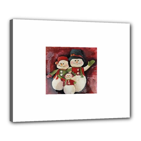 Snowman Family No. 2 Canvas 20  x 16
