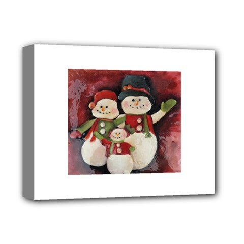 Snowman Family No. 2 Deluxe Canvas 14  x 11