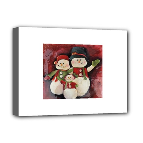 Snowman Family No. 2 Deluxe Canvas 16  x 12