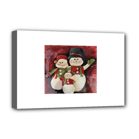 Snowman Family No. 2 Deluxe Canvas 18  x 12