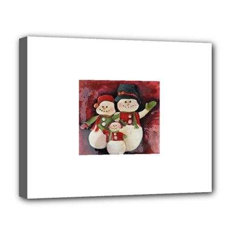 Snowman Family No. 2 Deluxe Canvas 20  x 16