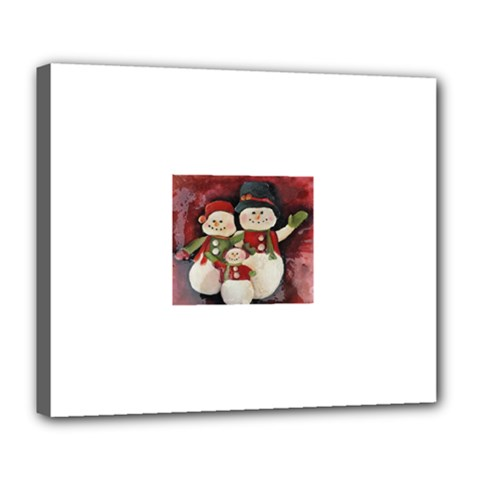 Snowman Family No. 2 Deluxe Canvas 24  x 20