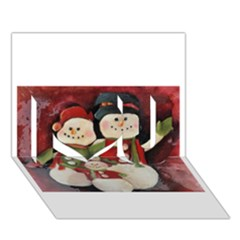 Snowman Family No. 2 I Love You 3D Greeting Card (7x5)