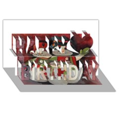 Snowman Family No. 2 Happy Birthday 3D Greeting Card (8x4)