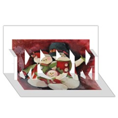 Snowman Family No. 2 MOM 3D Greeting Card (8x4)