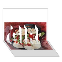 Snowman Family No. 2 GIRL 3D Greeting Card (7x5)