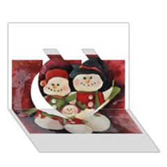 Snowman Family No. 2 Heart 3D Greeting Card (7x5)
