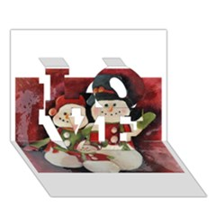 Snowman Family No. 2 LOVE 3D Greeting Card (7x5)