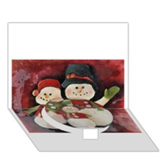 Snowman Family No. 2 Circle Bottom 3D Greeting Card (7x5)