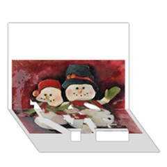Snowman Family No  2 Love Bottom 3d Greeting Card (7x5)  by timelessartoncanvas
