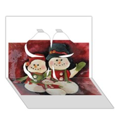 Snowman Family No. 2 Clover 3D Greeting Card (7x5)