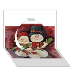 Snowman Family No. 2 Circle 3D Greeting Card (7x5)