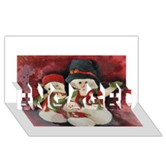 Snowman Family No. 2 ENGAGED 3D Greeting Card (8x4)