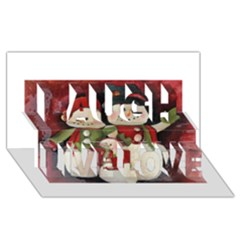 Snowman Family No. 2 Laugh Live Love 3D Greeting Card (8x4)