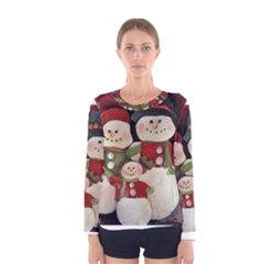 Snowman Family No. 2 Women s Long Sleeve T-shirts